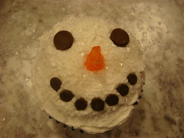 photo of happy snowman cupcake