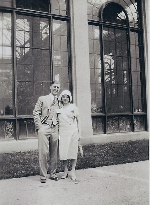 Aunt Ruth and her husband, 1930's, possibly at Longwood Gardens (PA)