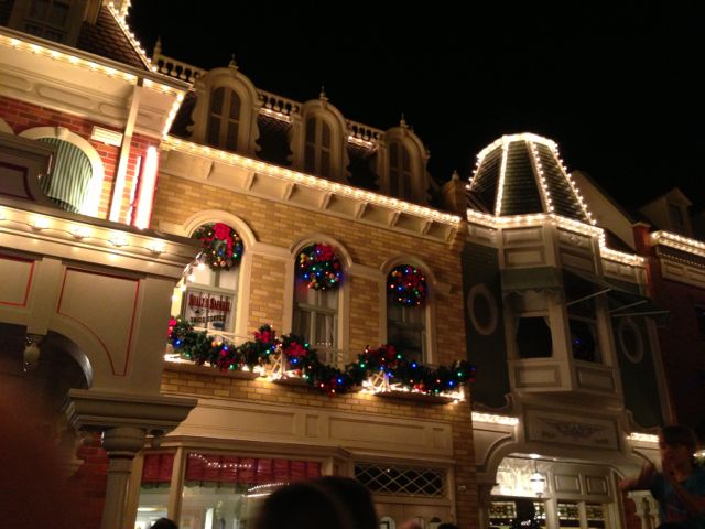 photo of Christmas decorations on Main Street, USA