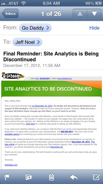 screen shot of Godaddy's final day of Site Analytics