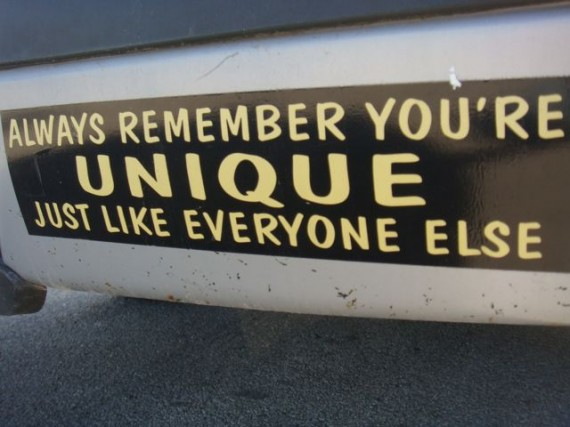 clever bumper sticker about being unique