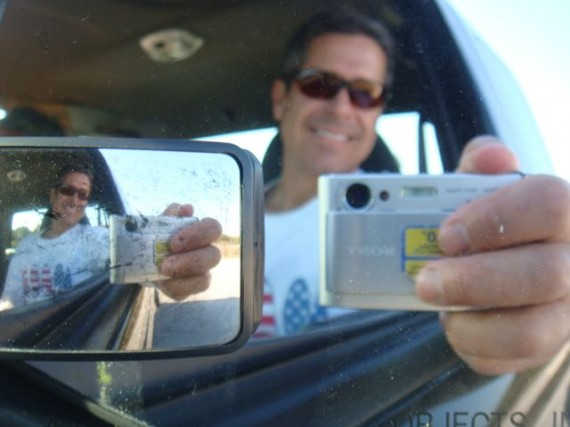 jeff noel self portrait photo in rearview mirror