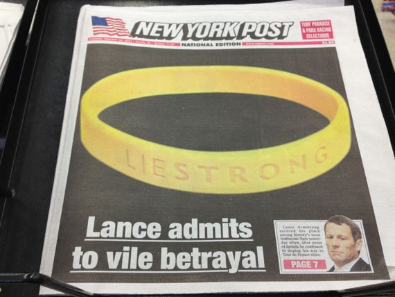 New York Post front page story Lance Armstrong admits vile betrayal