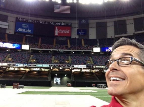 Dead center midfield on the Super Dome floor, looking south