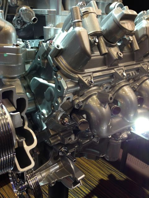 GM car engine on display at Chicago Auto Show