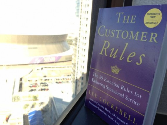A galley copy of Lee Cockerell's 2nd book, The Customer Rules (Super Dome on left)