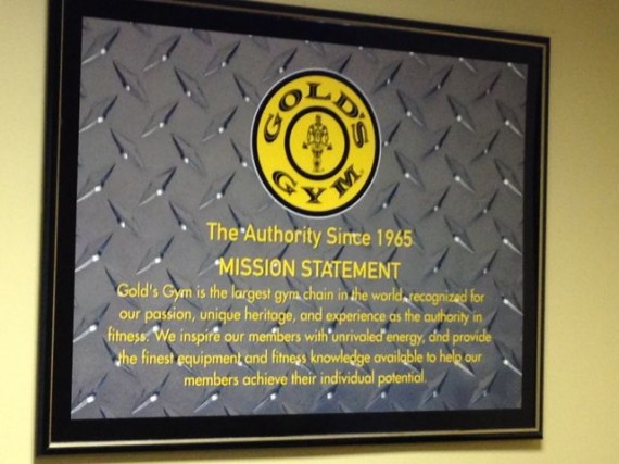 Golds Gym Mission statement wall plague