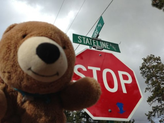 Teddy Bear at Nevada-California state line in Tahoe