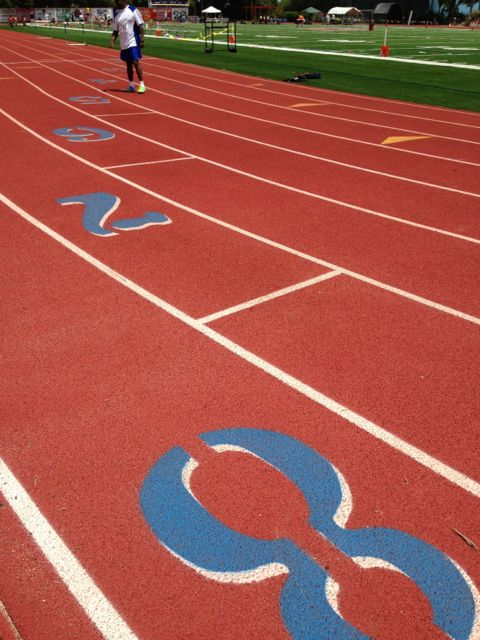 Lane 8 at Lake Brantley High School Track stadium