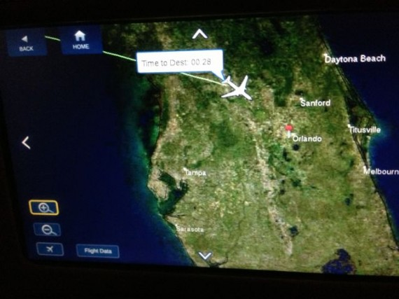 Delta inflight map showing flight path to Orlando