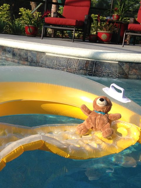 Orlando pool with Teddy Bear on bright yellow raft