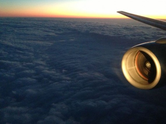 Sunset cloud cover from United airlines jet