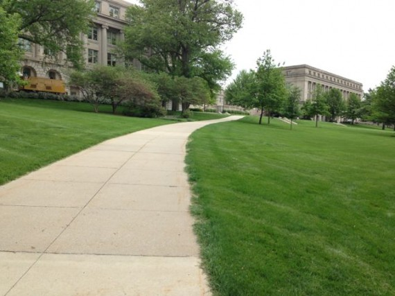 University of Iowa campus sidewalk view of Old Capital Building