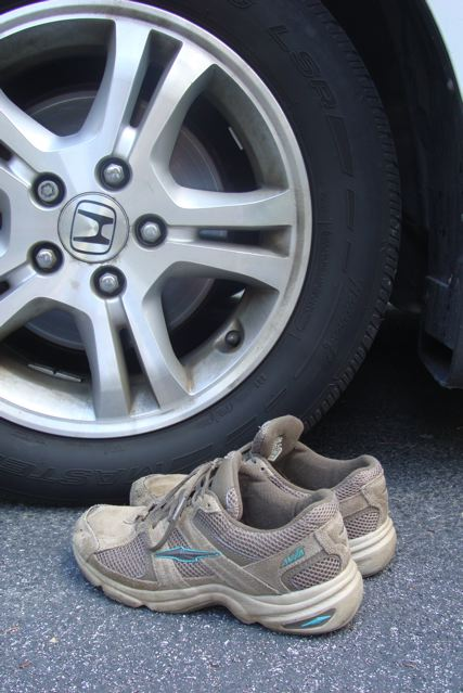 Tire and sneakers