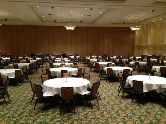 Big ballroom setup for big name speaker