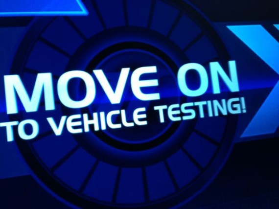 Disney's Test Track screen display