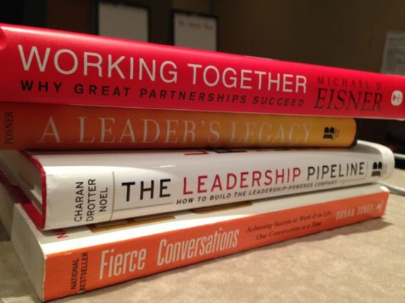 stack of leadership books