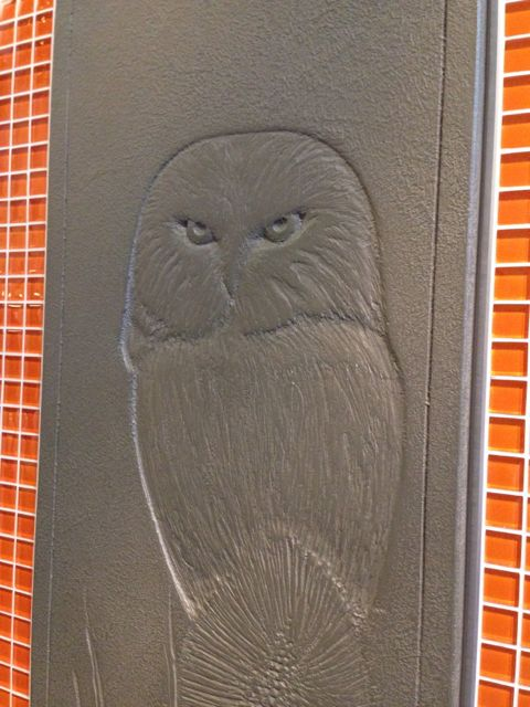 Stone etched owl image