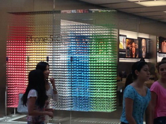 Apple Store window display of iPhone 5C colors