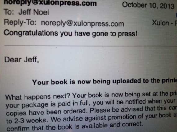 email announcing jeff noel's book has gone to press