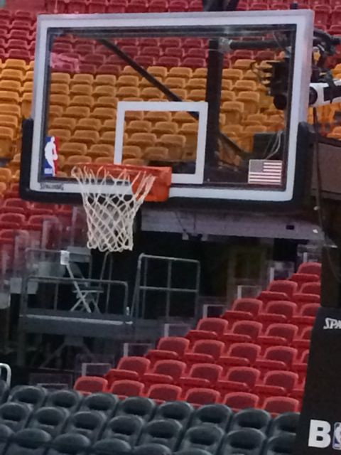 Basketball backboard in American Airlines Arena