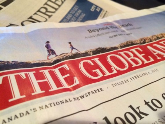 The Globe newspaper front page
