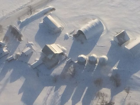 Farm covered in snow