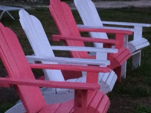 Pink and white beach chairs