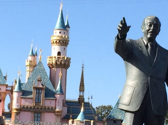 Walt Disney Partners statue in fron of Sleeping Beauty Castle