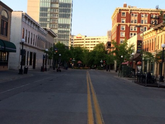 empty college town street