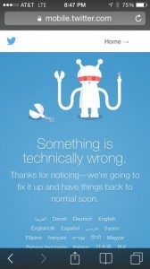 Twitter down time screen shot