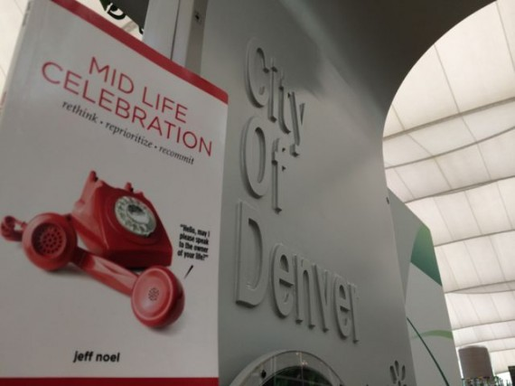 Mid Life Celebration book at Denver airport