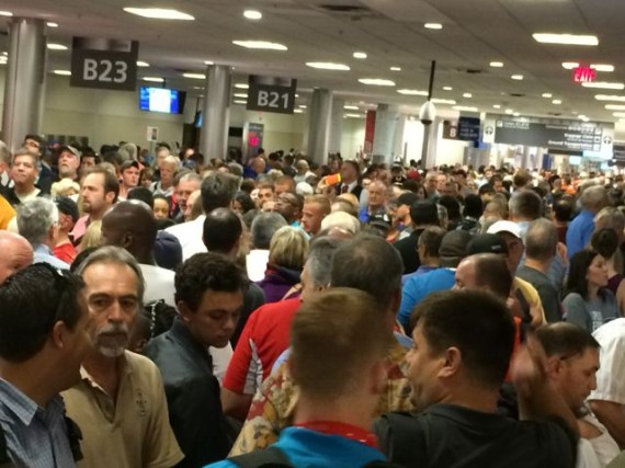 Extremely crowded airport during serious weather delays