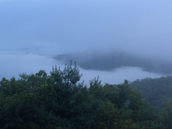 Blue Ridge Mountains and early morning clouds