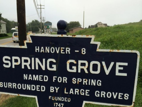 Spring Grove, Pennsylvania town established sign