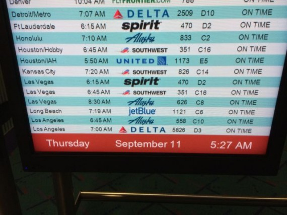 PDX departure status displat board