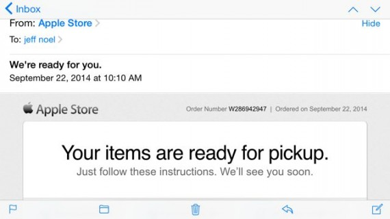 Apple email that iPhone 6 is ready for pickup