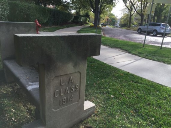 1914 concrete bench at University of Iowa