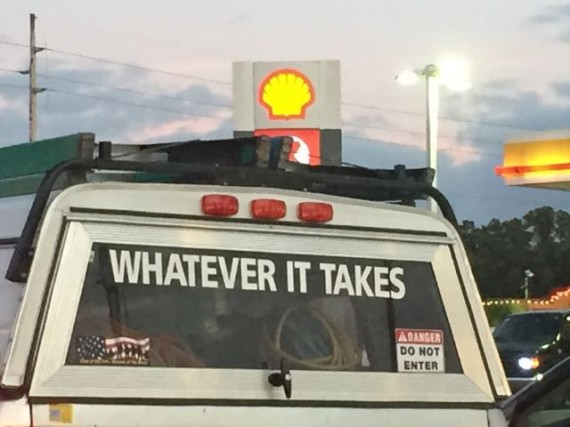 Pickup truck with inspirational sign