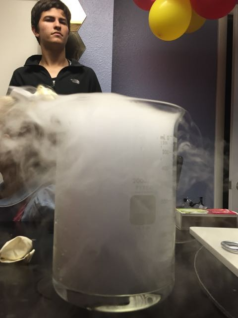 Dry ice in water science experiment