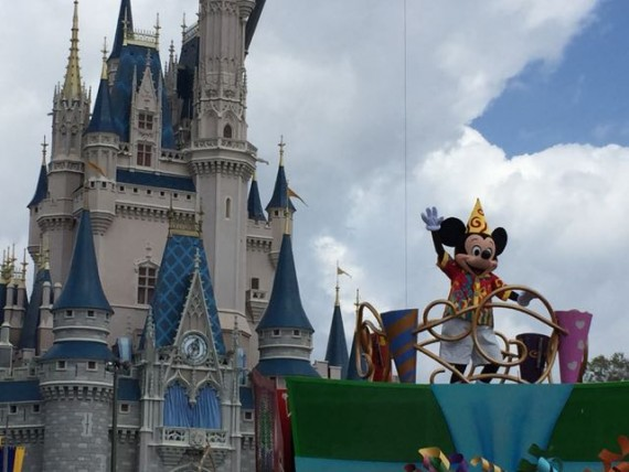 Cinderella Castle and Mickey Mouse on parade float