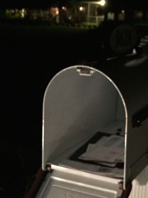 Mailbox at night