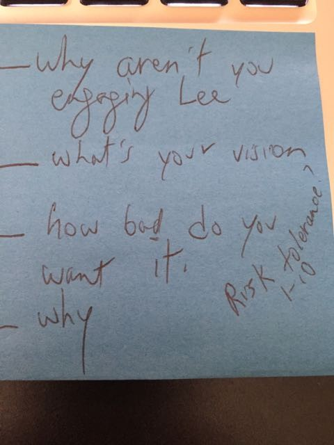 A simple post it note contains key questions.