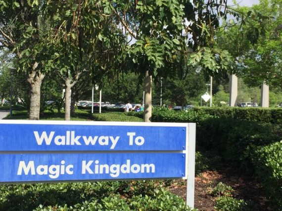 Walkway to magic Kingdom sign
