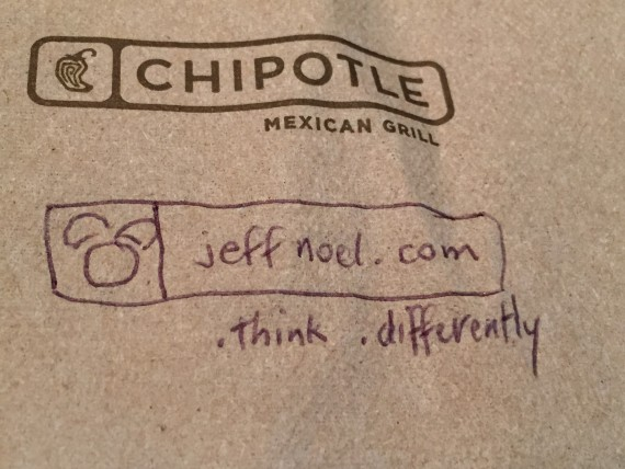 Chipotle napkin with jeff noel logo