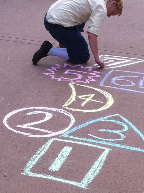 Epcot sidewalk art near United Kingdom