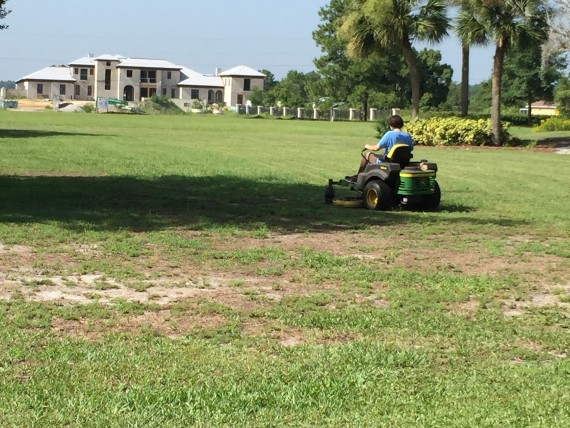Riding lawn mower near Disney