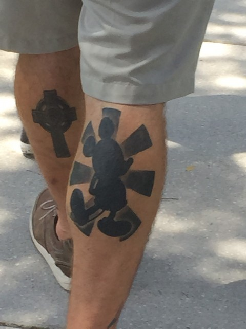 Mickey Mouse tattoo on calf