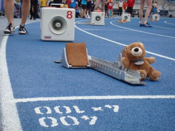 Teddy bear in starting blocks