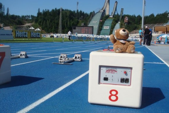 Teddy Bear at Track meet starting line